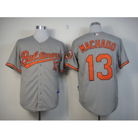 MLB Baltimore Orioles 13 Machado Grey Jerseys
