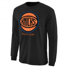 2016 NBA New York Knicks Noches Enebea Long Sleeve T-Shirt - Black