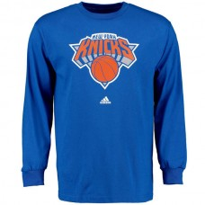 2016 NBA New York Knicks Royal Blue adidas Prime Logo Long Sleeve T-Shirt