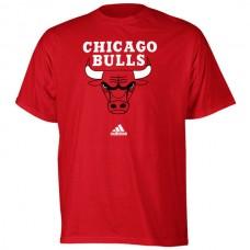 2016 NBA adidas Chicago Bulls Red Primary Logo T-shirt
