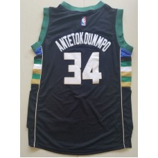 2017 NBA Milwaukee Bucks 34 Giannis Antetokounmpo Black kids jerseys