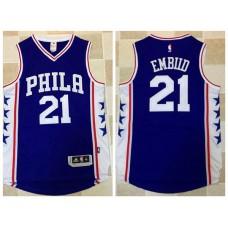 2017 NBA Philadelphia 76ers 21 Embiid blue Jerseys