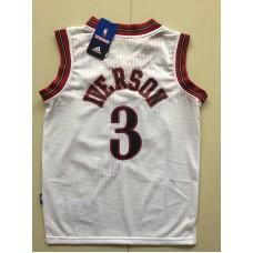 2017 NBA Philadelphia 76ers 3 Allen Iverson white kids jerseys