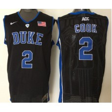 2016 NBA NCAA Duke Blue Devils 2 Cook Black Jerseys