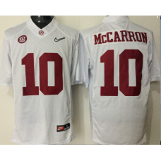 2016 NCAA Alabama Crimson Tide 10 McCarron white jerseys