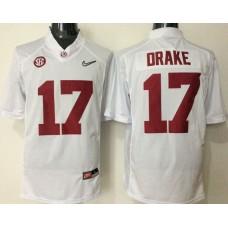 2016 NCAA Alabama Crimson Tide 17 Drake white jerseys