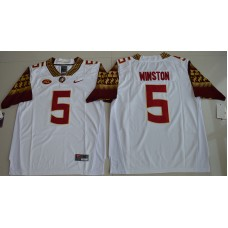 2016 NCAA Florida State Seminoles 5 Jameis Winston White College Football Limited Jersey