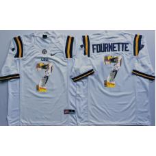 2016 NCAA LSU Tigers 7 Fournette White Fashion Edition Jerseys