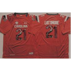 2016 NCAA South Carolina Gamecock 21 Lattimore Red Fashion Edition Jerseys