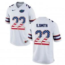 2016 US Flag Fashion Florida Gators E.Smith 22 College Football Jersey  White