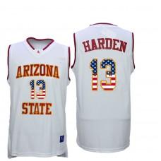 2016 US Flag Fashion Men Arizona State Sun Devils James Harden 13 College Basketball Jersey  White