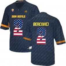 2016 US Flag Fashion Men Arizona State Sun Devils Mike Bercovici 2 College Football Jersey  Black
