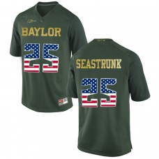2016 US Flag Fashion Men Baylor Bears Lache Seastrunk 25 College Football Jersey Green