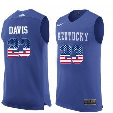 2016 US Flag Fashion Men Kentucky Wildcats Anthony Davis 23 College Basketball Jersey  Royal Blue