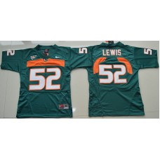 2016 Youth NCAA Miami Hurricanes 52 Ray Lewis Green College Football Jersey