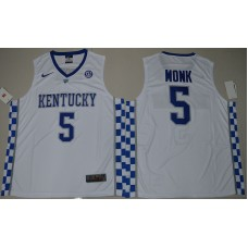 2017 Kentucky Wildcats Malik Monk 5 College Basketball Hype Elite White Jersey