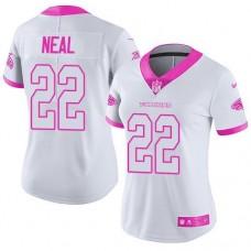 2016 Nike  Atlanta Falcons 22 Keanu Neal White Pink Women Stitched NFL Limited Rush Fashion Jersey