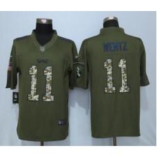 2016 Philadelphia Eagles 11 Wentz Green Salute To Service Nike Limited Jersey