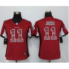 2016 Women New Nike Atlanta Falcons 11 Jones Red Strobe Elite Jersey