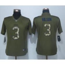 2016 Women New Nike Seattle Seahawks 3 Wilson Green Salute To Service Limited Jersey