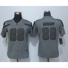 2016 Women New Nike Seattle Seahawks 88 Graham Gray Stitched Gridiron Gray Limited Jersey