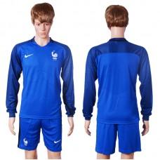 2016 European Cup France home long sleeve Blnak Blue Soccer Jersey