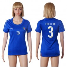 2016 European Cup Italy home 3 CHIELLINI Blue Women soccer jerseys