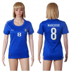 2016 European Cup Italy home 8 MARCHISIO Blue Women soccer jerseys