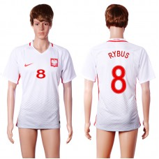 2016 European Cup Poland home 8 RYBUS White AAA+ Soccer Jersey