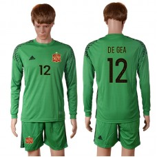 2016 European Cup Spain green goalkeeper long sleeves 12 DE GEA Soccer Jersey