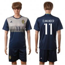 European Cup 2016 Sweden away 11 Elmander blue soccer jerseys