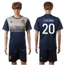 European Cup 2016 Sweden away 20 Toivonen blue soccer jerseys