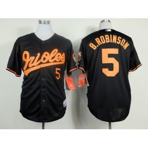 MLB Baltimore Orioles 5 Brooks Robinson Black Throwback Jerseys